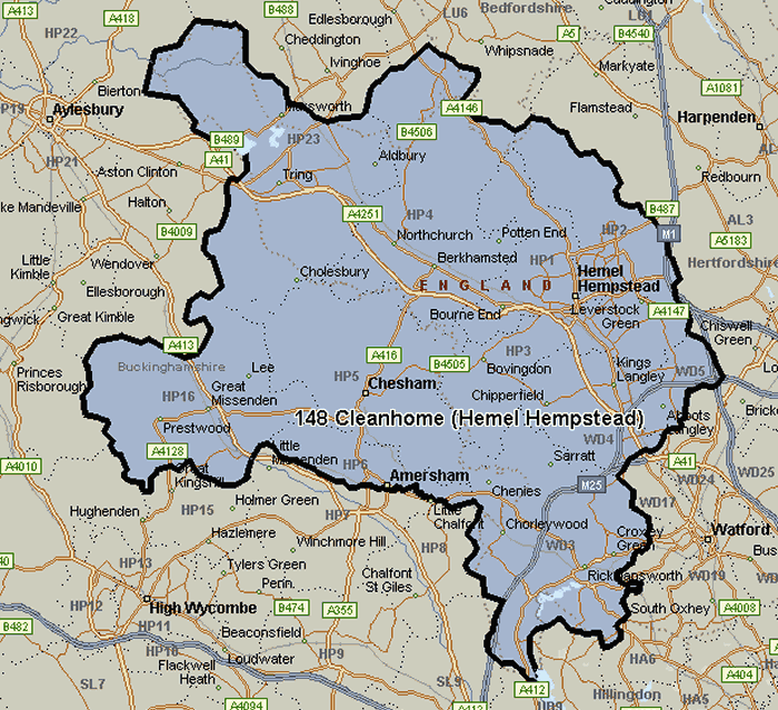 Map of the Cleanhome Hemel Hempstead area
